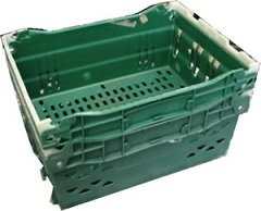 400x300x150 bale arm crate - Green - Stacked - White Arms - White Arms