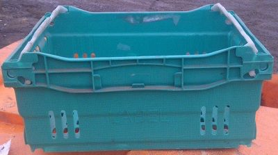 400.300.180 Bale Arm Crate - Green - Grey Bars
