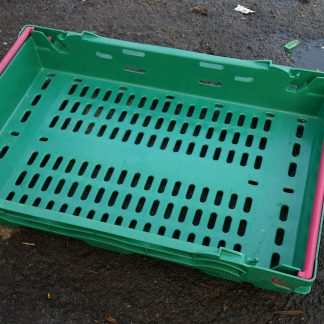 600x400x100 Bale Arm Crate – Green – Pink Arms