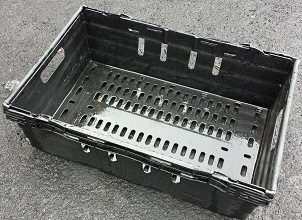 600x400x200 Bale Arm Crate Black - Grey Arms