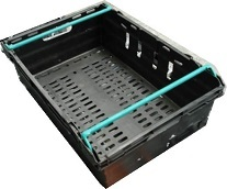 600x400x200 Bale Arm Crates - Black -Light Blue Arms