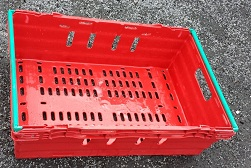 600x400x200 Bale Arm Crate Red with Green Arms