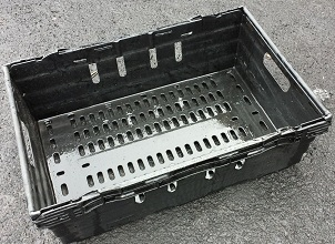 600x400x250 Bale Arm Crate Black with Grey Arms