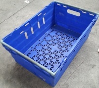 600x400x250 Bale Arm Crate Blue with Grey Arms