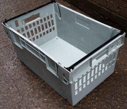 600x400x300 Bale Arm Crate Grey - Black Arms