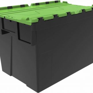 600x400x400 Green Lid Attached Lidded Container - (77 Ltr)