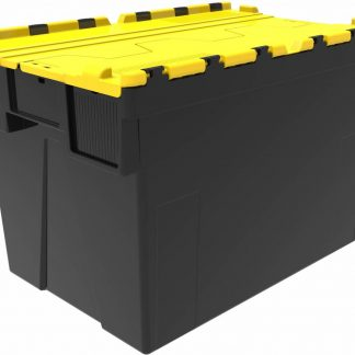 600x400x400 Yellow Lid Attached Lidded Container - (77 Ltr)