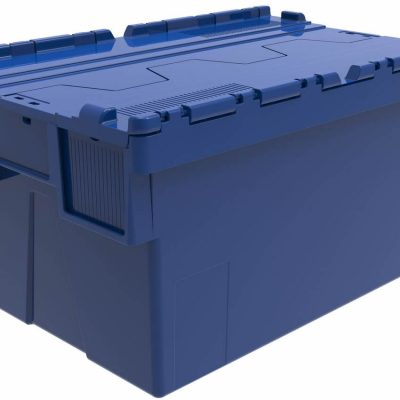 600x400x310 Blue Attached Lidded Container (56 Ltr)