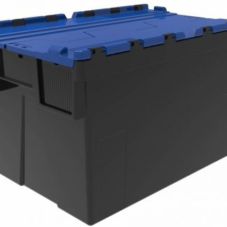 600x400x365 Blue Lid Attached Lidded Container - (65 Ltr)