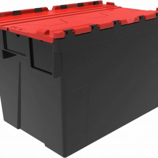 600x400x400 Red Lid Attached Lidded Container - (77 Ltr)