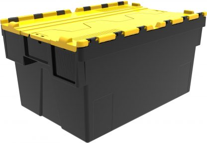 600x400x310 Yellow Lid Attached Lidded Container - Black -(56 Ltr)