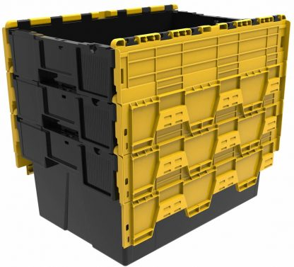 600x400x310 Attached Lidded Container - Black - Yellow Lid (56 Ltr)