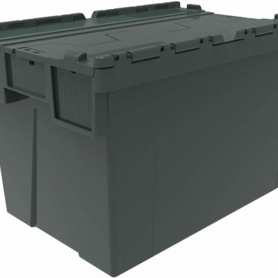 600x400x400 Dark Green Attached Lidded Container - (77 Ltr)