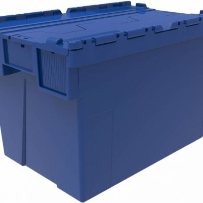 600x400x400 Blue Attached Lidded Container - (77 Ltr)